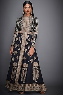 Black & Beige Embroidered Jacket by Ri Ritu Kumar-PRODUCTS ON DISCOUNT