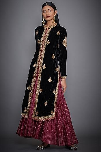 Black Embroidered Jacket With Burgundy Dress by Ri Ritu Kumar
