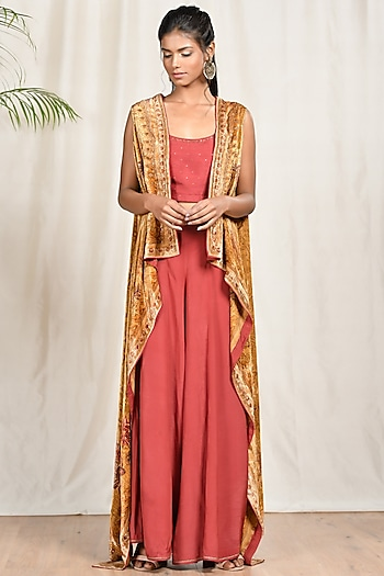 Beige Embroidered Cape Set by Ri Ritu Kumar