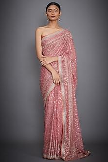 Pink Hand Embroidered Saree Set by Ri Ritu Kumar