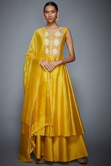 Yellow Embroidered Kurta Palazzo Set by Ri Ritu Kumar