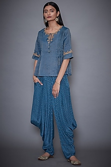 Teal Embroidered Kurta With Dhoti Pants by Ri Ritu Kumar