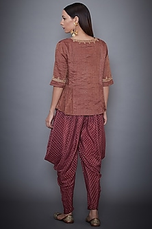 Mauve Embroidered Kurta With Dhoti Pants by Ri Ritu Kumar