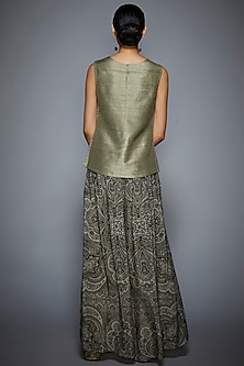 Grey Embroidered Kurta With Pants by Ri Ritu Kumar