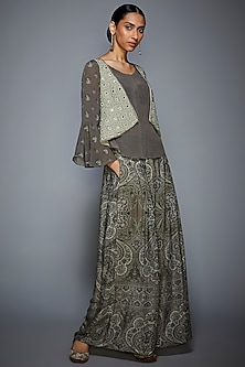 Grey Embroidered Jacket With Kurta & Pants by Ri Ritu Kumar
