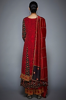 Red Hand Embroidered Kurta Set by Ri Ritu Kumar