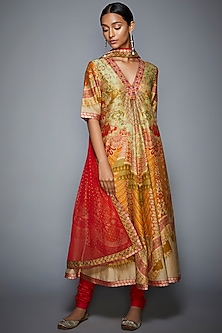 Coral Printed & Embroidered Kurta Set by Ri Ritu Kumar