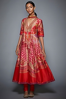 Red Printed & Embroidered Kurta Set by Ri Ritu Kumar