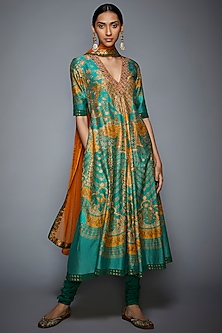 Green Printed & Embroidered Kurta Set by Ri Ritu Kumar
