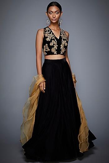 Black Embroidered Lehenga Set by Ri Ritu Kumar