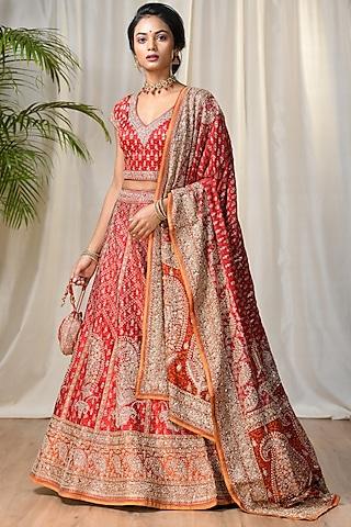 Red & Saffron Embroidered Lehenga Set by Ri Ritu Kumar