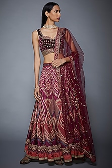 Purple Printed & Embroidered Lehenga Set by Ri Ritu Kumar