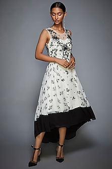 Ivory & Black Embroidered Dress by Ri Ritu Kumar