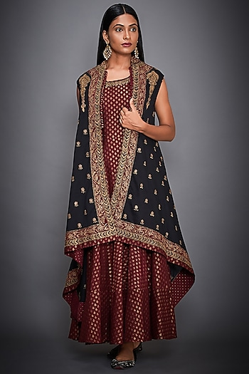 Black Embroidered Cape With Burgundy Tiered Dress by Ri Ritu Kumar