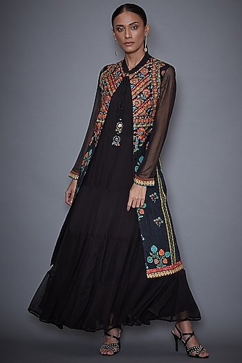 Black Embroidered Jacket With Dress by Ri Ritu Kumar