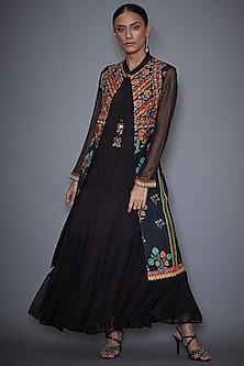 Black Embroidered Jacket With Dress by Ri Ritu Kumar