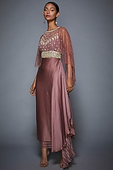 Pink Embroidered Asymmetric Gown With Attached Cape by Ri Ritu Kumar