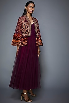 Maroon Embroidered Jacket With Dress by Ri Ritu Kumar