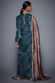 Teal Embroidered Kurta Set by Ri Ritu Kumar