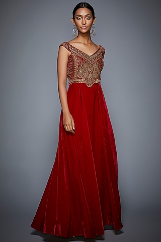 Burgundy & Gold Embroidered Gown by Ri Ritu Kumar