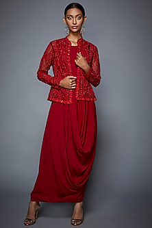Red Embroidered Jacket With Dress by Ri Ritu Kumar