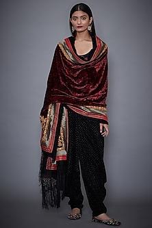 Burgundy Velvet Embroidered Shawl by Ri Ritu Kumar