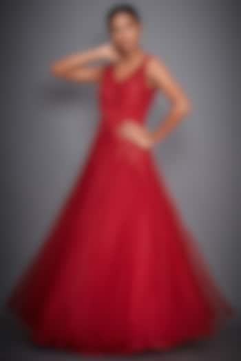 Red Hand Embroidered Sleeveless Gown by Ri Ritu Kumar