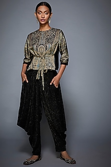 Black & Grey Printed Embroidered Top With Dhoti Pants by Ri Ritu Kumar