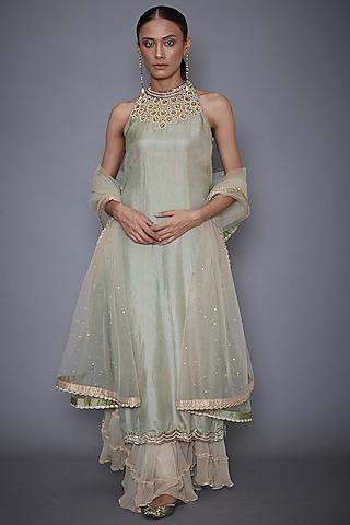 Mint Green & Beige Embroidered Sharara Set by Ri Ritu Kumar