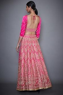 Neon Pink Embroidered Lehenga Set by Ri Ritu Kumar