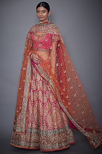 Fuchsia & Orange Embroidered Lehenga Set by Ri Ritu Kumar