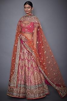 Fuchsia & Orange Embroidered Lehenga Set by Ri Ritu Kumar