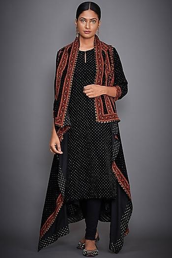 Black Embroidered & Printed Kurta Set by Ri Ritu Kumar