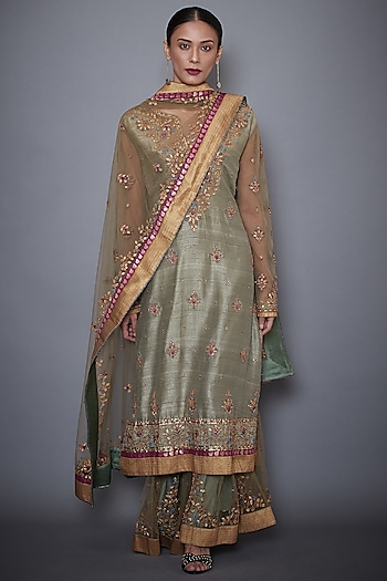 Khaki Green Embroidered Kurta Set by Ri Ritu Kumar
