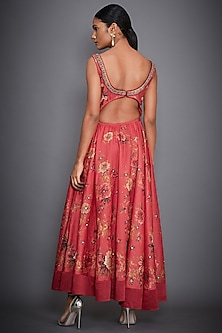 Coral Floral Embroidered Dress by Ri Ritu Kumar