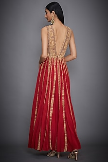 Ochre & Red Embroidered Gown by Ri Ritu Kumar