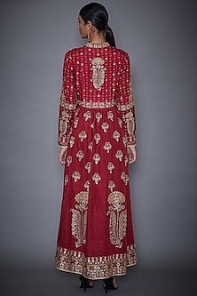 Burgundy Aari Embroidered Jacket by Ri Ritu Kumar