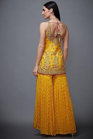 Yellow Embroidered Gharara Set by Ri Ritu Kumar