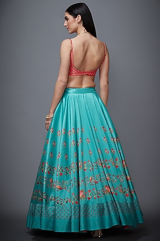 Jade Blue & Coral Embroidered Lehenga Set by Ri Ritu Kumar