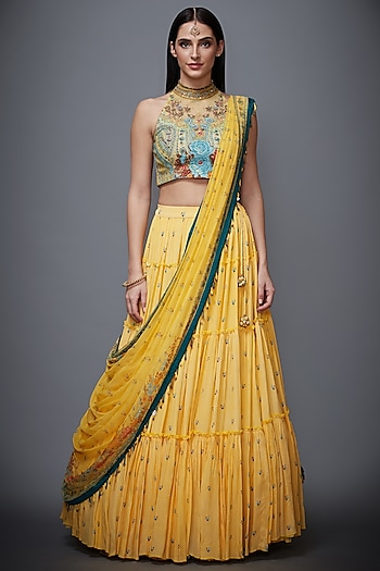 Yellow Embroidered Skirt Set by Ri Ritu Kumar