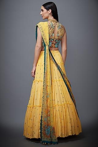 Yellow Embroidered Skirt Set by Ri Ritu Kumar