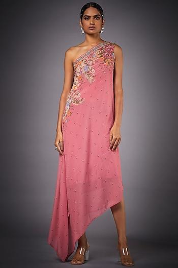Pink Floral Off Shoulder Dress by Ri Ritu Kumar