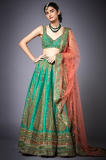 Green Embroidered Lehenga Set by Ri Ritu Kumar