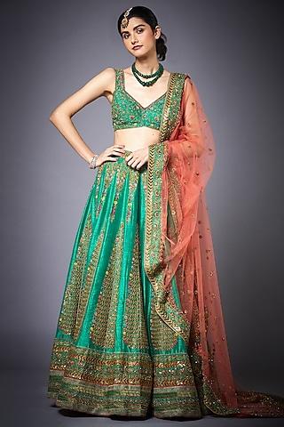 Green Embroidered Lehenga Set by Ri Ritu Kumar