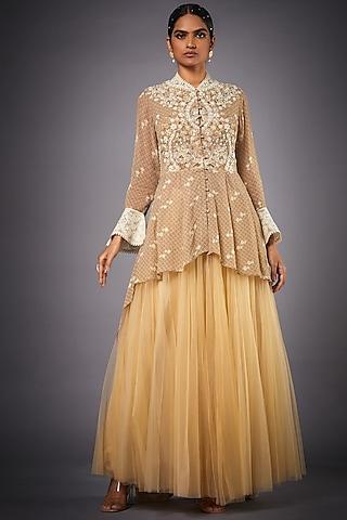 Beige Embroidered Skirt Set by Ri Ritu Kumar