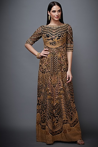 Black Embroidered Dress With Inner by Ri Ritu Kumar