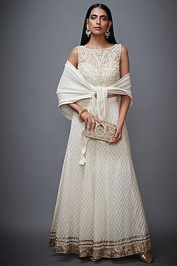 Off White Embroidered Pant Set by Ri Ritu Kumar
