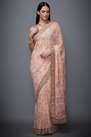 Pink Embroidered Saree Set by Ri Ritu Kumar