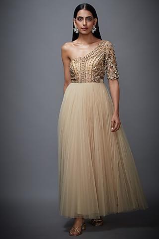 Beige & Gold Embroidered Dress by Ri Ritu Kumar