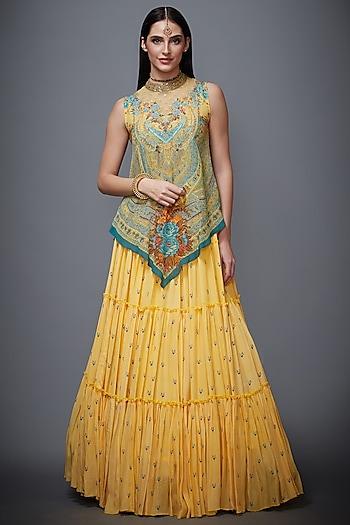 Yellow & Turquoise Embroidered Skirt Set by Ri Ritu Kumar